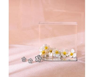 Strieborné náušnice s pravými diamantmi Daisy DE583