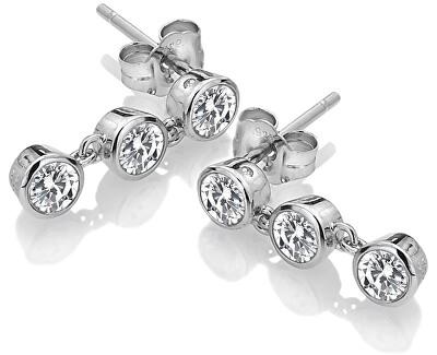 Strieborné náušnice s topaz a pravým diamantom Willow DE585
