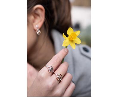 Inel de trifoi din argint bicolor cu patru foi, cu diamant Lucky in Love DR216