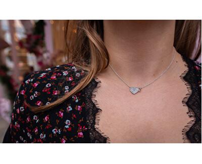 Strieborný náhrdelník s pravým diamantom Flora DP730