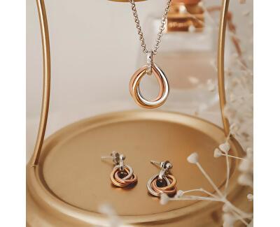 Stříbrný náhrdelník s diamanty Trio Teardrop DP779 (řetízek, přívěsek)