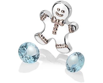 Stříbrný element perníček s modrými topazy Anais AC106