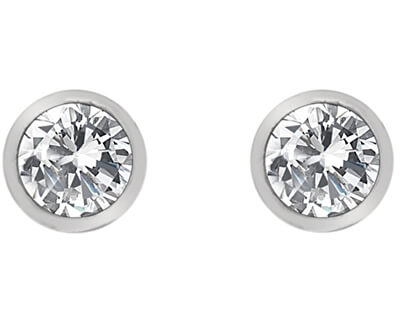 Strieborné náušnice s topaz a pravým diamantom Willow DE584