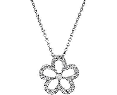 Strieborný náhrdelník s pravým diamantom Daisy DP720 (retiazka, prívesok)