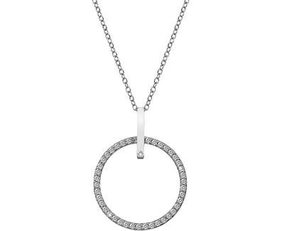 Strieborný náhrdelník s pravým diamantom Flora DP718 (retiazka, prívesok)