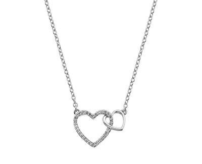 Strieborný náhrdelník s pravým diamantom Flora DP731