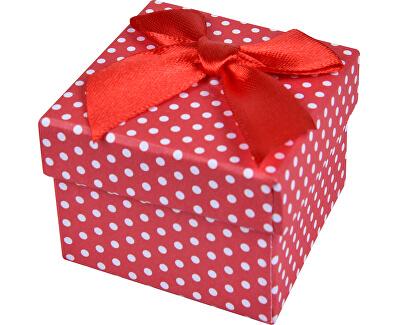Červená Bodkovaná krabička na náušnice a prsteň KK-3 / A7