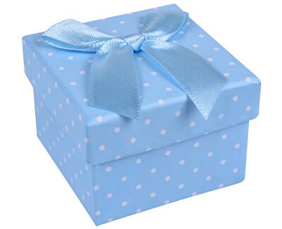Svetlo modrá bodkovaná krabička na prsteň alebo náušnice KK-3 / A13