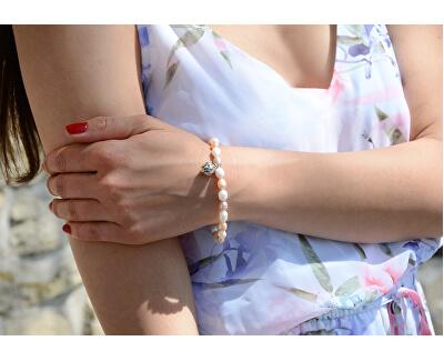 Brățară fină cu perle reale și cu ornament metalic JL0294