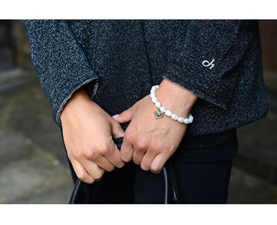 Jemný náramek z pravých perel s kovovým srdíčkem JL0417