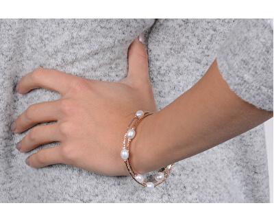 Bronzový náramok s pravými perlami JL0493