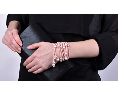 Dlhý kožený náhrdelník s pravými perlami JL0495