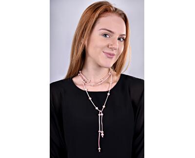 Dlhý kožený náhrdelník 3v1 s pravými perlami JL0497