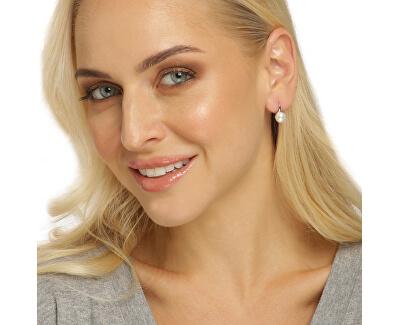 Jemné stříbrné náušnice s pravou perlou JL0643