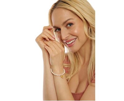 Jemný náramek z pravých perel s pozlaceným srdíčkem JL0691