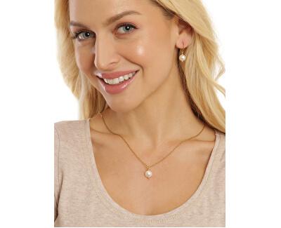 Krásný pozlacený náhrdelník s pravou bílou perlou JL0679