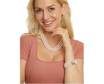 Elegantní třířadý náhrdelník z pravých bílých perel JL0667