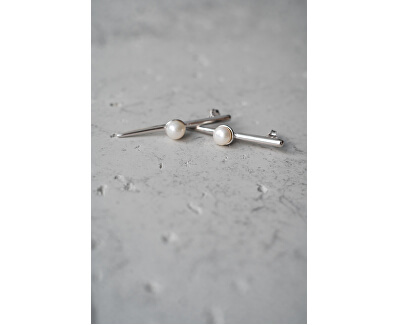 Originálne strieborné náušnice s pravou perlou JL0464
