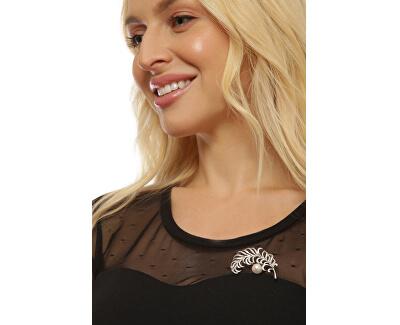Překrásná perlová brož peříčko JL0699