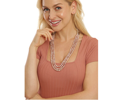 Půvabný třířadý náhrdelník z pravých růžových říčních perel JL0671