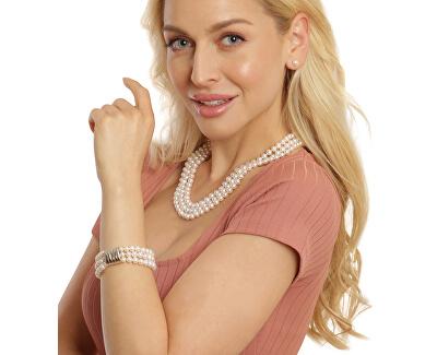 Třířadý náramek z pravých bílých perel JL0668