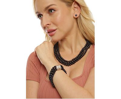 Třířadý náramek z pravých černých perel JL0670