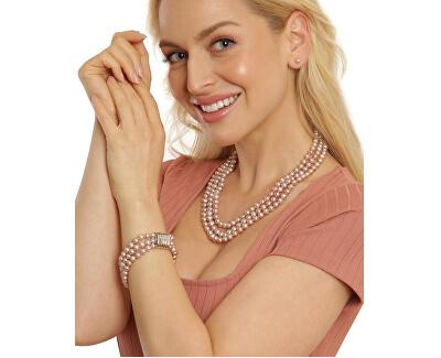 Třířadý náramek z pravých růžových říčních perel JL0672
