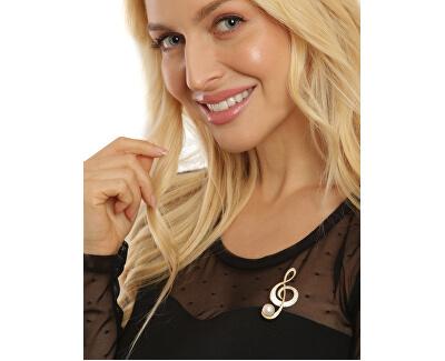 Třpytivá perlová brož houslový klíč 2v1 JL0702