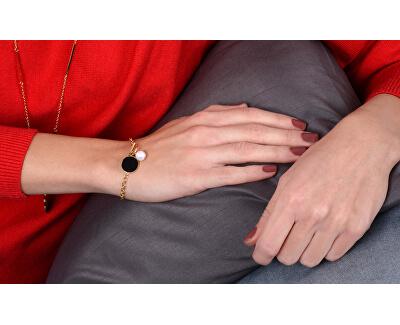 Zvýhodněná perlová souprava pozlacených šperků JL0476CH, JL0482CH (náhrdelník, náramek)