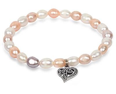 Zartes Armband aus echten Perlen mit Edelstahl Herz JL0293