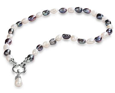 Eine Halskette aus echten Perlen in zwei Farbtönen JL0316
