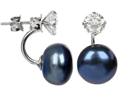 Cercei două fețe din argint cu perlă reală culoare albastră și cristal JL0225
