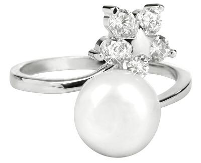 Silber Ring mit echter Perle und klaren Kristallen JL0322