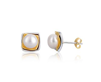 Cercei din argint bicolori cu perlă adevărată JL0622