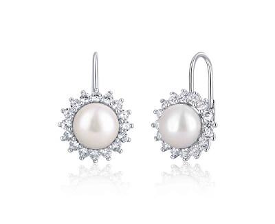 Cercei argintii eleganți, cu perlă și zirconiu JL0602