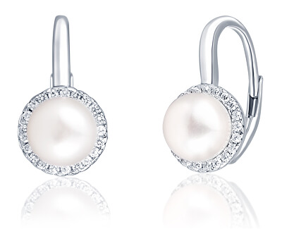 Elegantní stříbrné náušnice s perlou a zirkony JL0640