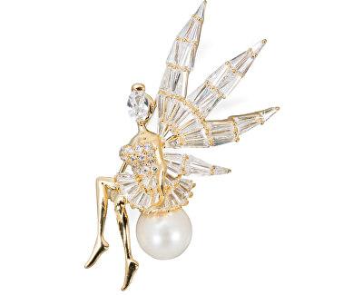 Luxusné trblietavá brošňa anjel / víla s pravou perlou JL0448
