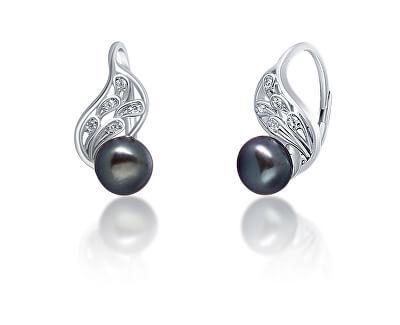 Luxusní stříbrné náušnice s pravou černou perlou JL0674