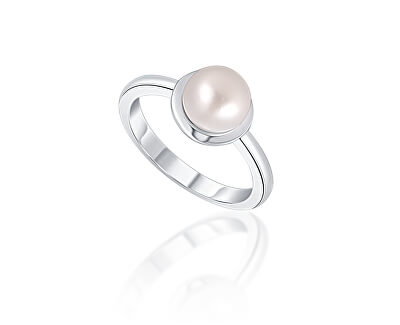 Něžný stříbrný prsten s pravou bílou perlou JL0677