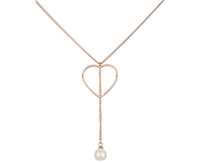 Oceľový náhrdelník so srdiečkom a pravou perlou JL0472CH