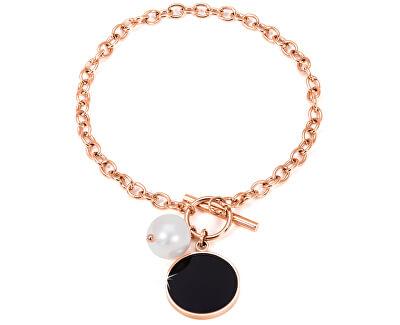 Oceľový náramok s pravou perlou JL0481CH