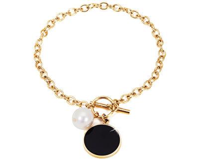 Oceľový náramok s pravou perlou JL0482CH