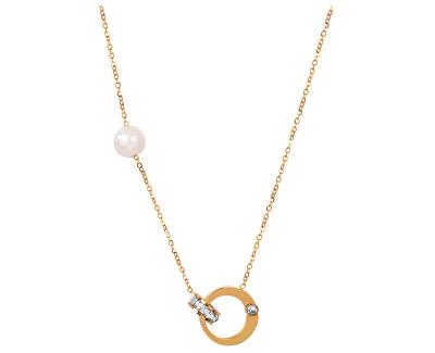 Pozlacený náhrdelník s pravou perlou a krystaly JL0422