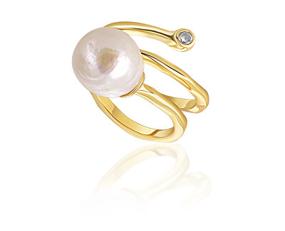 Pozlacený prsten s pravou perlou a zirkonem JL0692