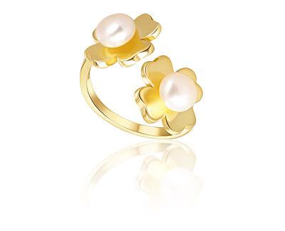 Pozlacený prsten s pravými perlami Čtyřlístek JL0693