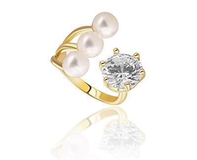 Pozlacený prsten s pravými perlami a krystalem JL0694