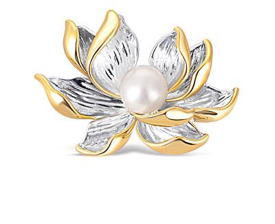 Překrásná bicolor brož s perlou 2v1 Lotosový květ JL0698
