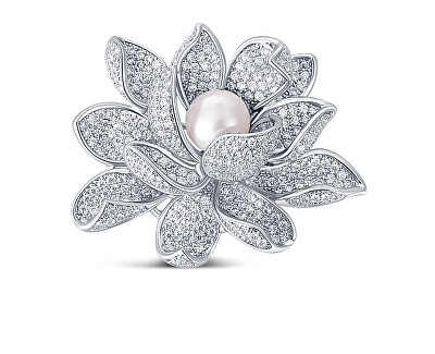 Překrásná brož s perlou 2v1 Lotosový květ JL0697