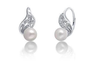 Půvabné stříbrné náušnice s pravou bílou perlou JL0706