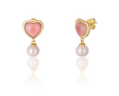 Romantické pozlacené náušnice s pravými bílými perlami JL0680